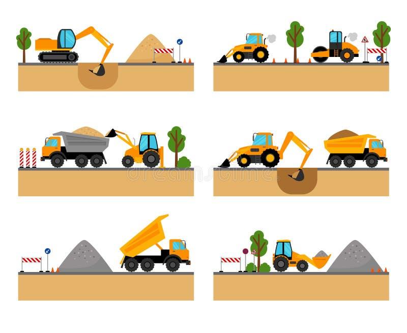 Ícones do vetor da maquinaria do terreno de construção ilustração royalty free