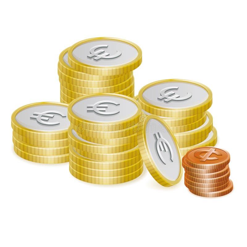 Ícones do vetor da pilha da moeda do Euro e do centavo ilustração do vetor