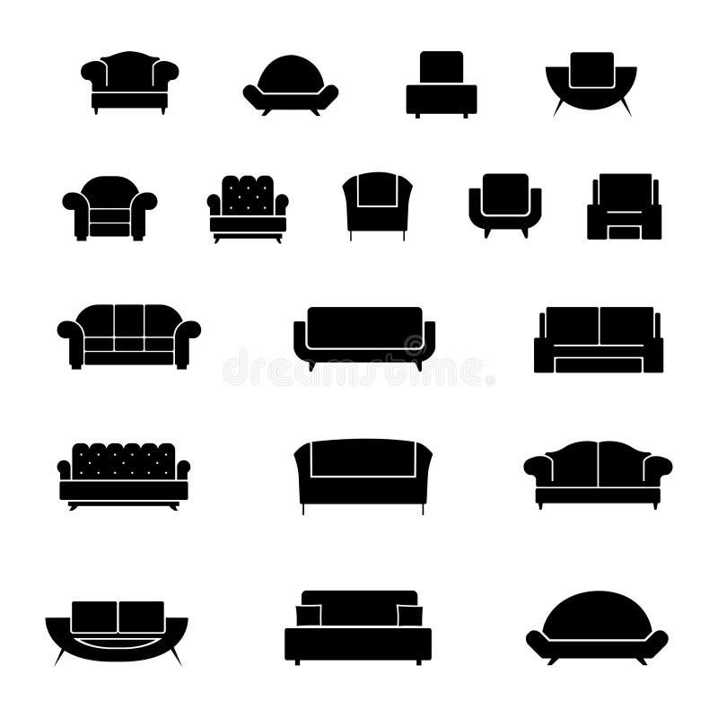 Ícones do vetor da poltrona, das cadeiras, do sofá e do sofá ajustados ilustração stock
