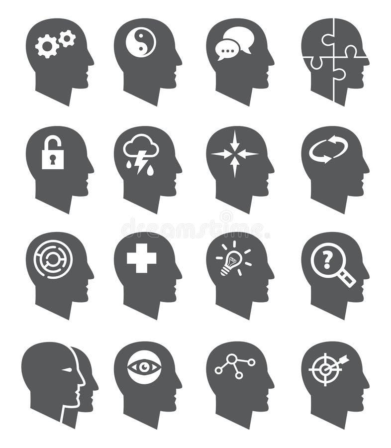 Ícones do vetor da psicologia ajustados ilustração stock