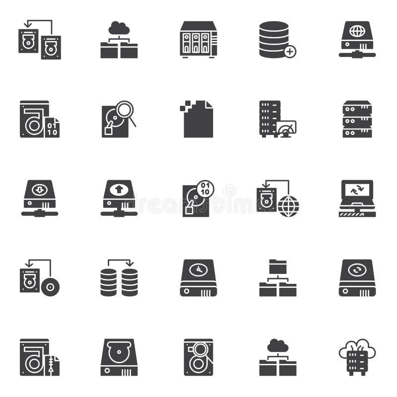 Ícones do vetor da recuperação dos dados ajustados ilustração royalty free