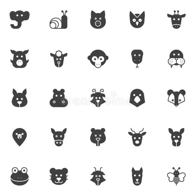 Ícones do vetor das cabeças dos animais ajustados ilustração stock