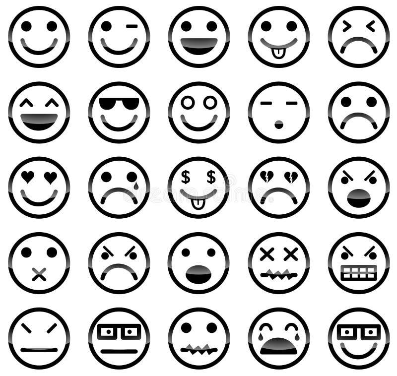 Ícones do smiley ilustração do vetor
