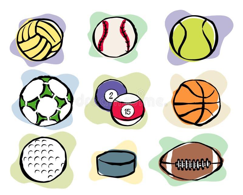 Ícones do vetor das esferas do esporte ilustração do vetor