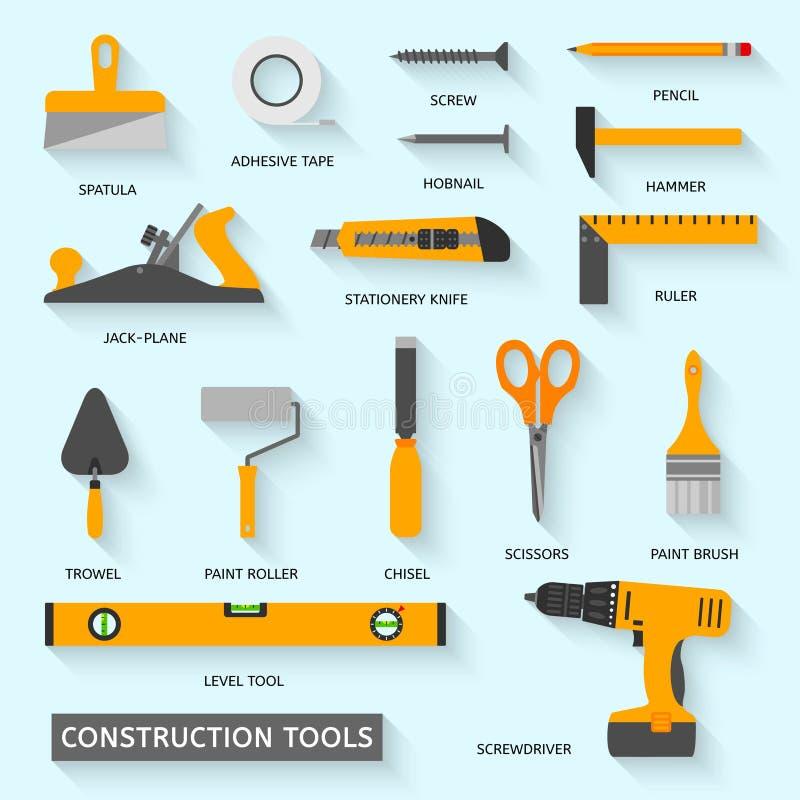 Ícones do vetor das ferramentas da construção ajustados ilustração do vetor