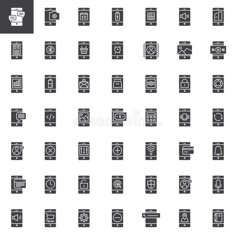 Ícones do vetor das funções do telefone celular e do smartphone ajustados ilustração do vetor