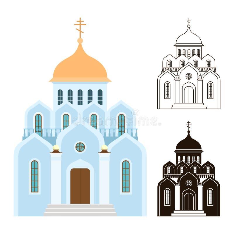 Ícones do vetor das igrejas ortodoxas Construções da religião isoladas no fundo branco ilustração royalty free