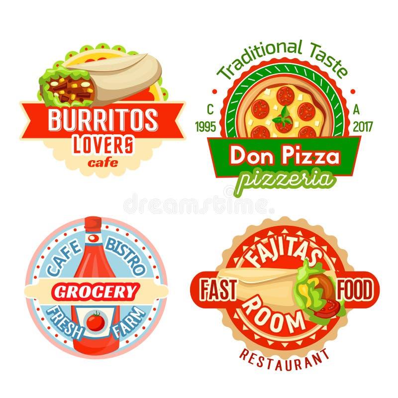 Ícones do vetor das refeições dos petiscos do restaurante do fast food ilustração royalty free