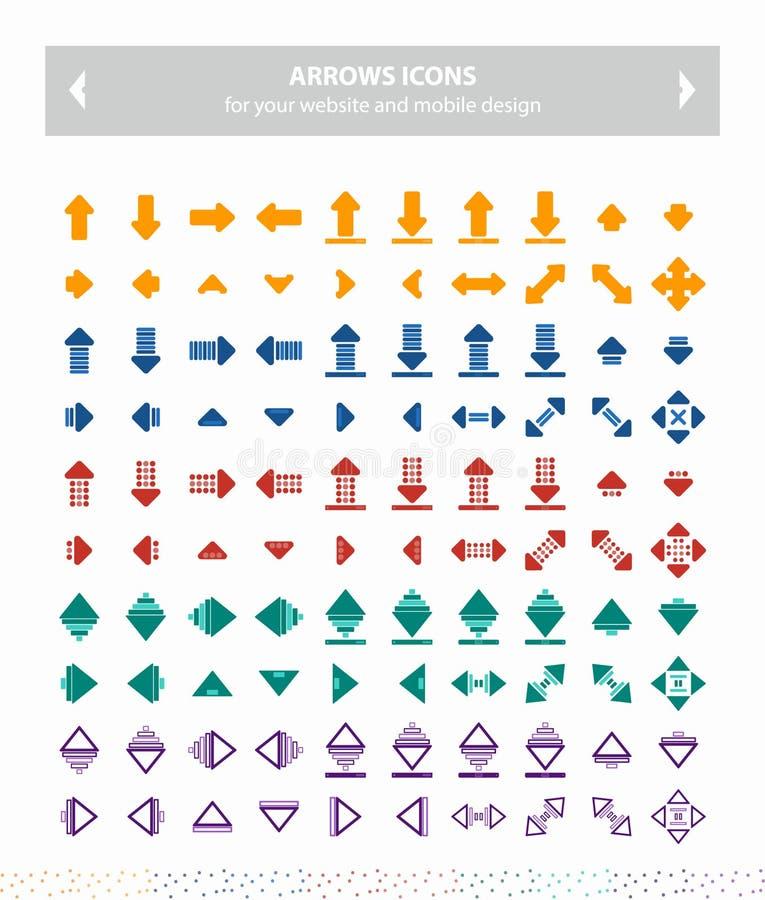 Ícones do vetor das setas - coloridos imagem de stock royalty free