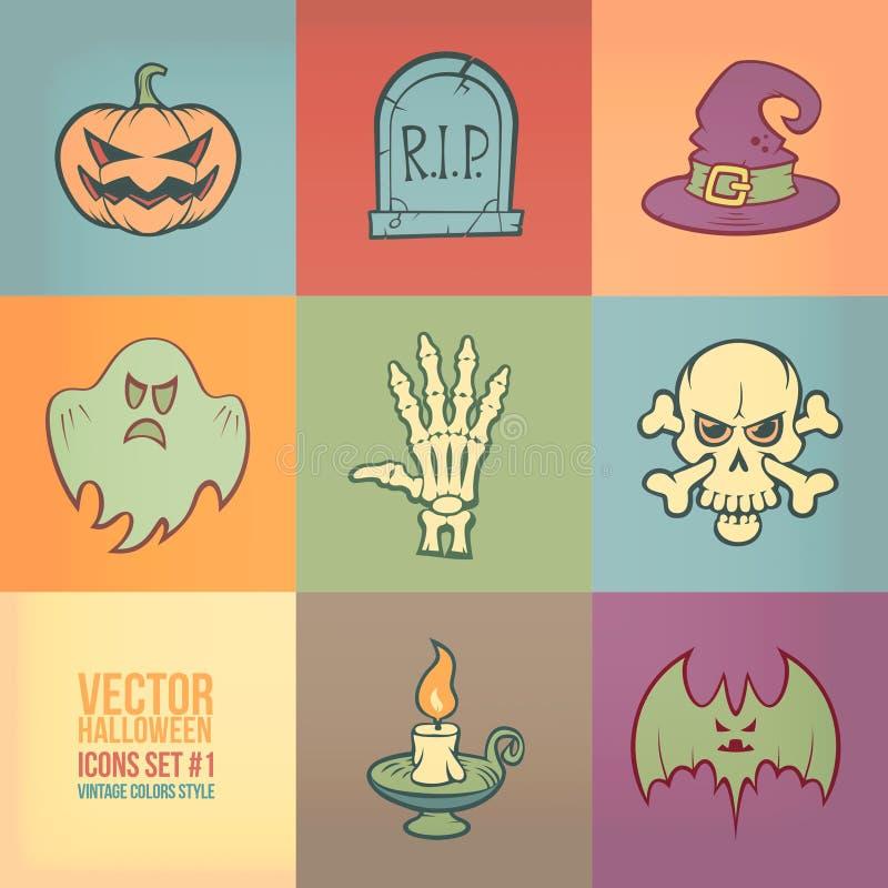 Ícones do vetor de Dia das Bruxas ajustados ilustração royalty free