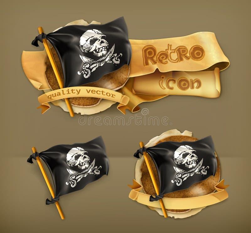 Ícones do vetor de Jolly Roger ilustração stock