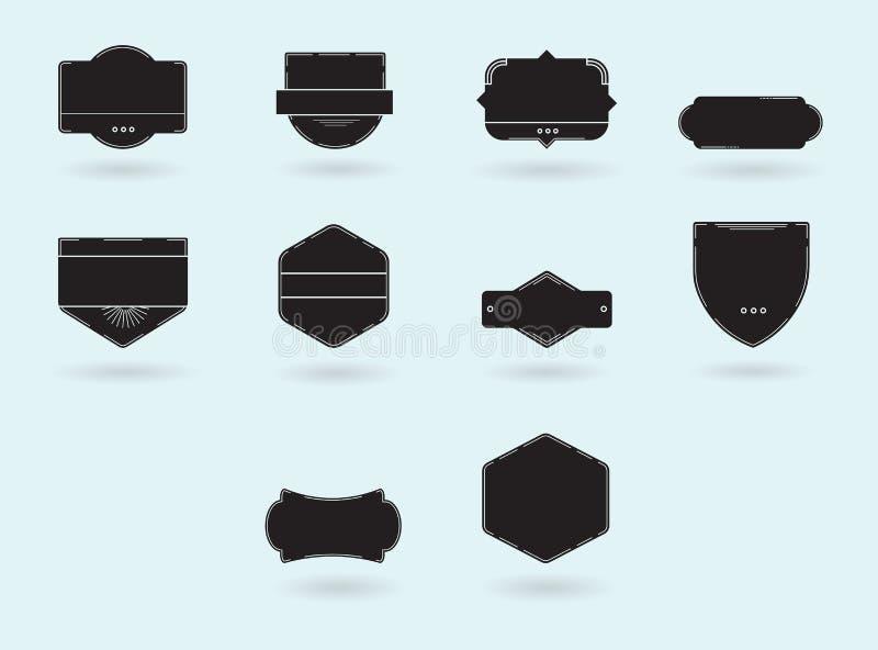 Ícones do vetor de vários crachás ilustração do vetor