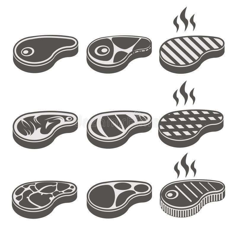 Ícones do vetor do bife da carne da carne ajustados ilustração stock