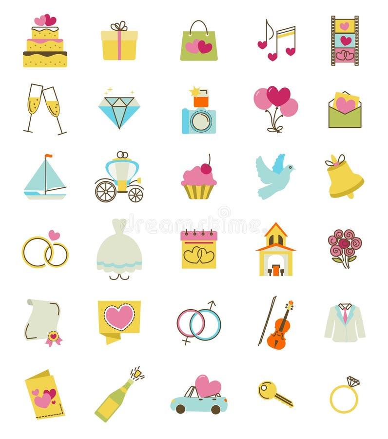 Ícones do vetor do casamento ajustados Acessórios da cerimônia do acoplamento e de união ilustração royalty free