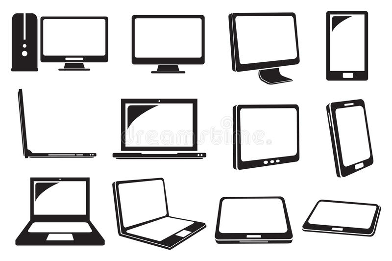 Ícones do vetor do computador e do portátil ilustração do vetor