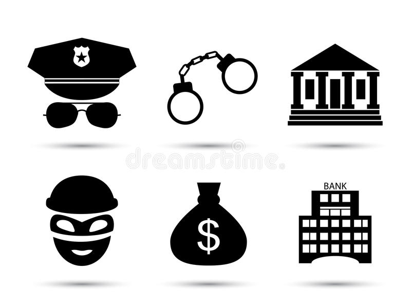 Ícones do vetor do criminoso e da prisão ajustados ilustração royalty free
