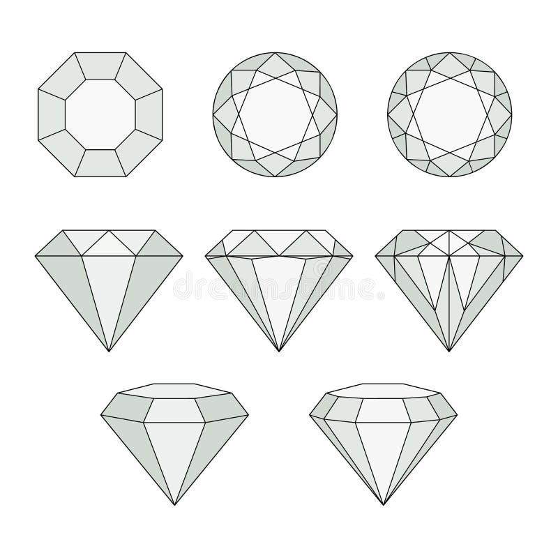 Ícones do vetor do diamante ajustados ilustração royalty free