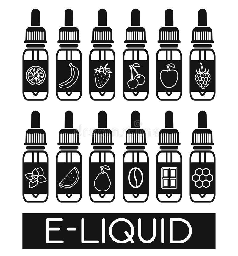 Ícones do vetor do E-líquido ilustração do vetor