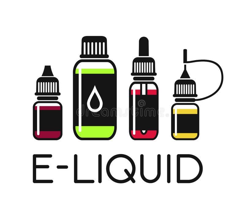 Ícones do vetor do E-líquido ilustração royalty free