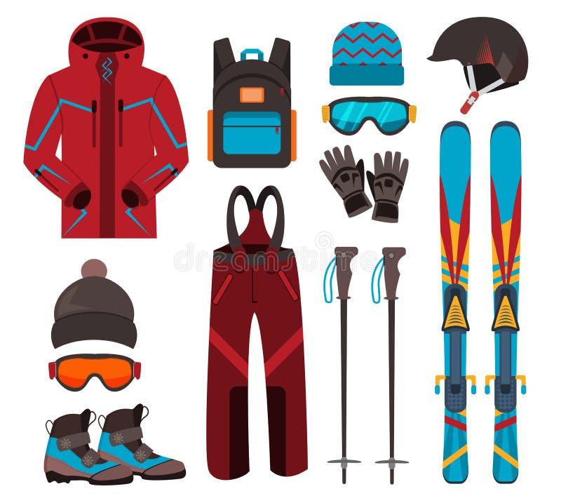 Ícones do vetor do equipamento do esqui ilustração royalty free