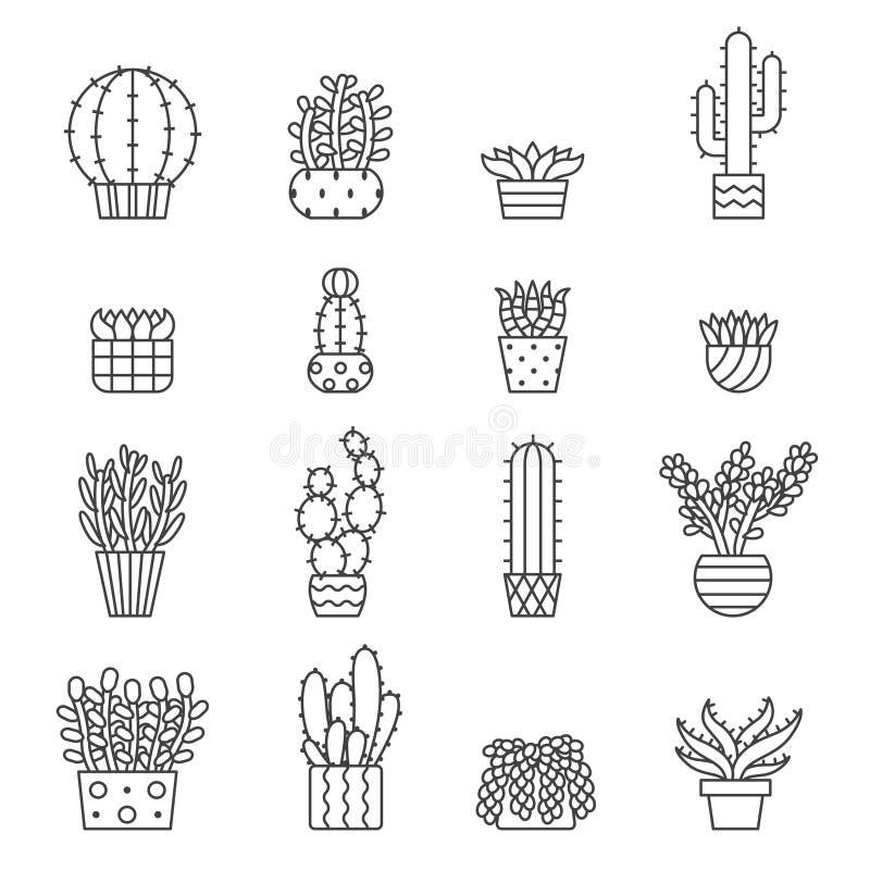 Ícones do vetor do esboço das plantas carnudas e dos cactos ajustados projeto minimalistic moderno ilustração stock