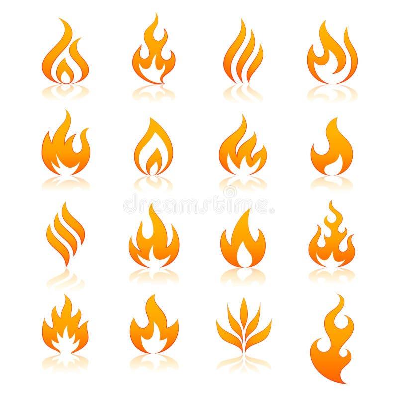 Ícones do vetor do fogo ilustração stock