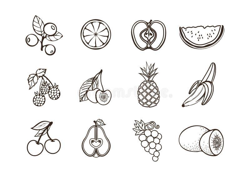 Ícones do vetor do fruto Frutos e bagas dos ícones preto e branco lisos ajustados vários em um fundo branco ilustração stock