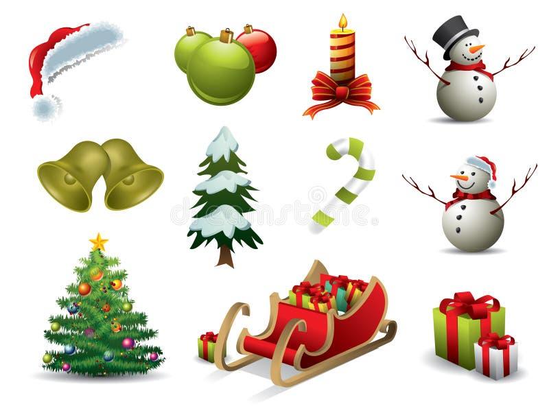 Ícones do vetor do Natal ilustração royalty free