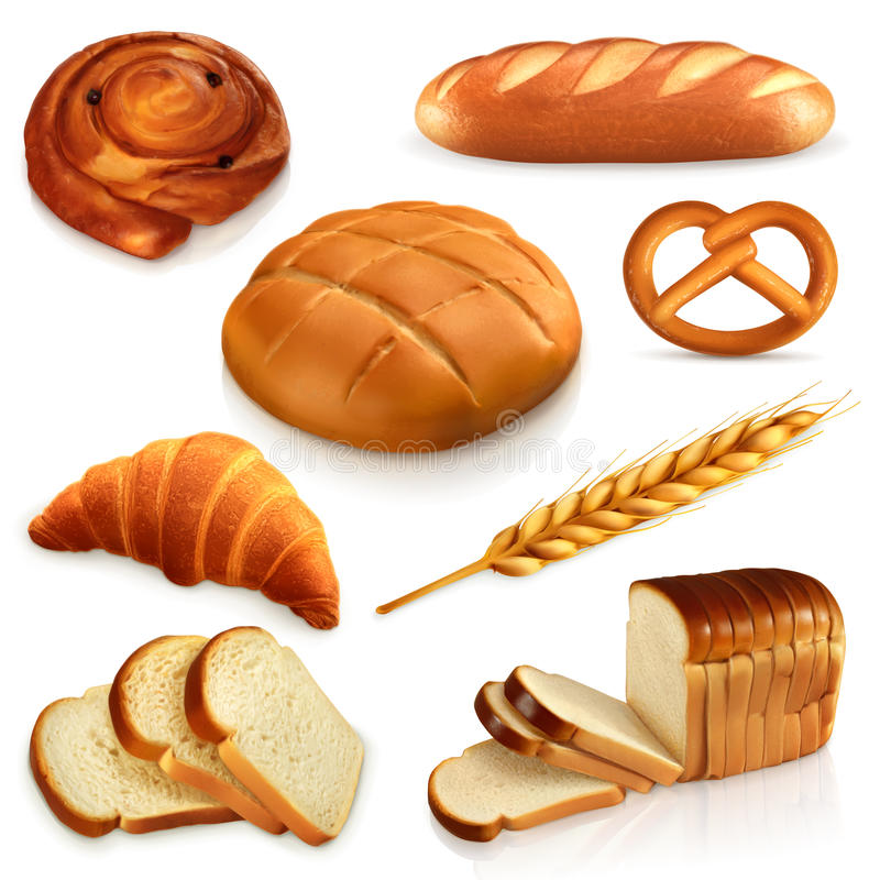 Ícones do vetor do pão ilustração stock