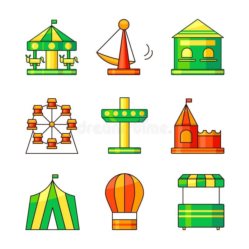 Ícones do vetor do parque de diversões ilustração royalty free