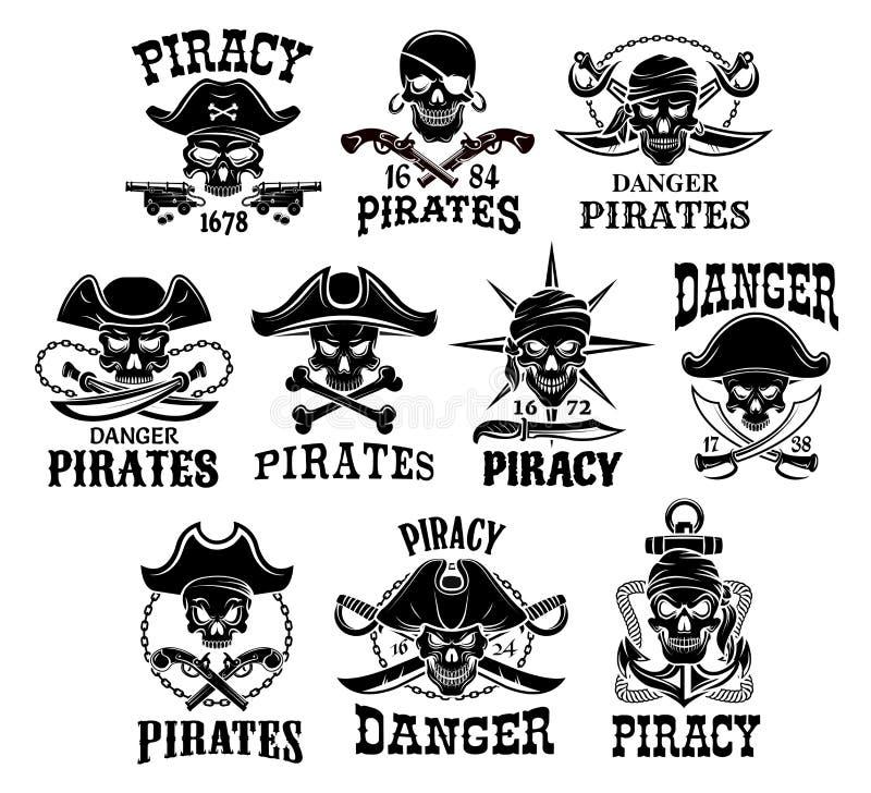 Ícones do vetor do pirata ou do Jolly Roger ajustados ilustração do vetor