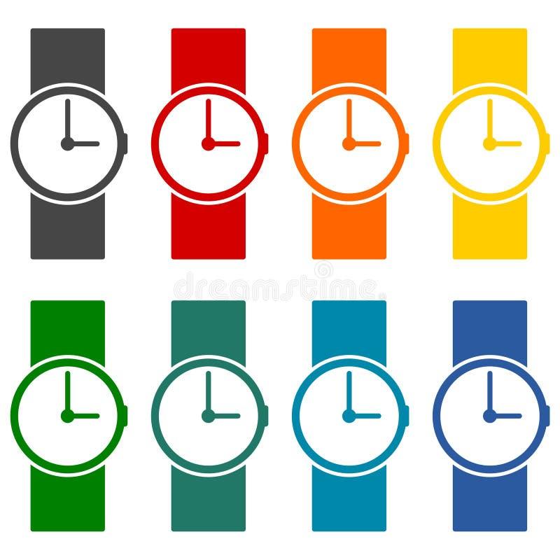 Ícones do vetor do relógio de pulso ajustados ilustração stock