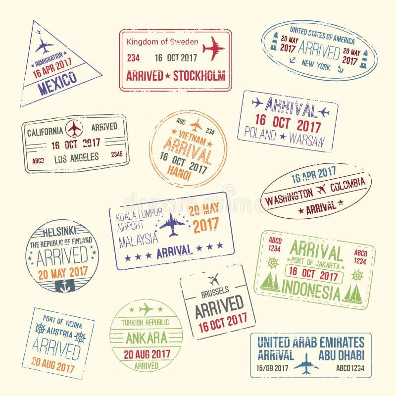 Ícones do vetor do selo do passaporte da cidade do curso ilustração do vetor