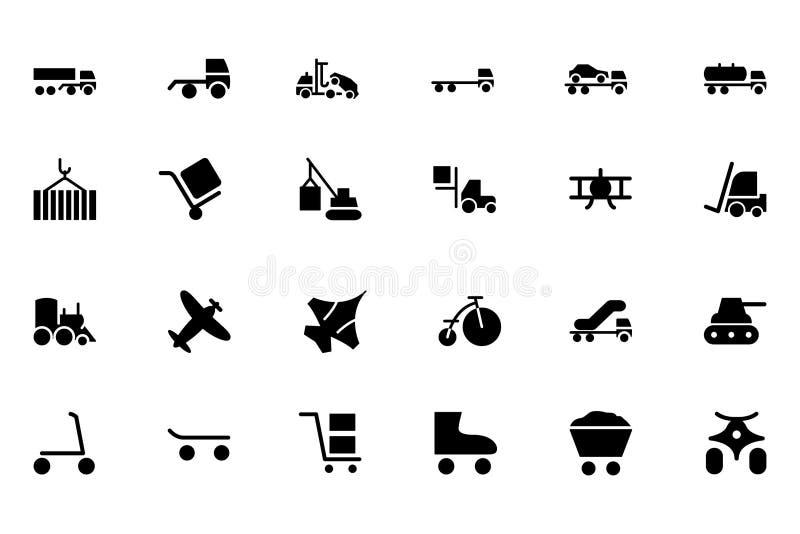 Ícones 3 do vetor do transporte ilustração stock