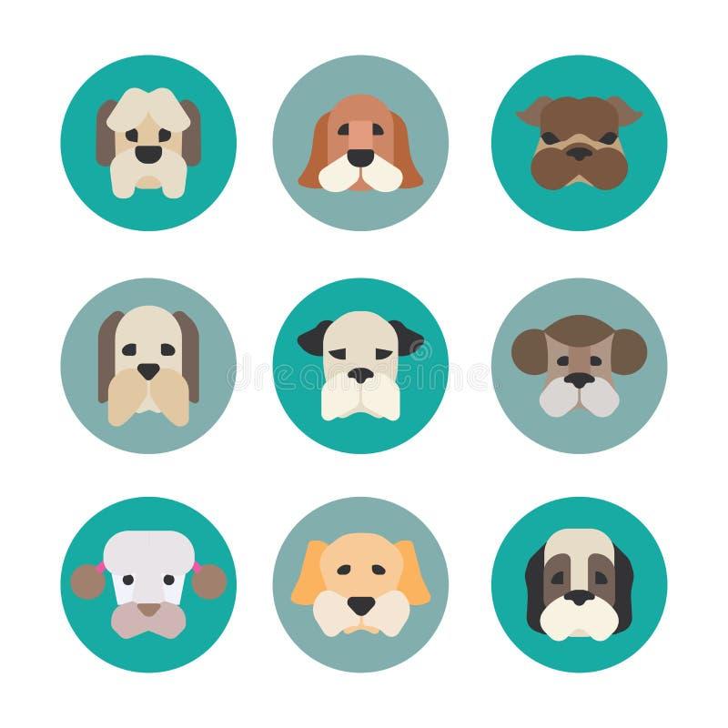 Ícones do vetor dos animais de estimação - elementos dos cães ilustração stock