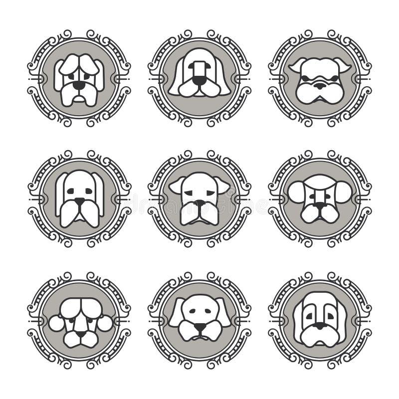 Ícones do vetor dos animais de estimação - elementos dos cães ilustração do vetor