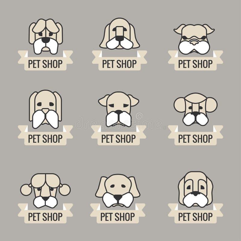 Ícones do vetor dos animais de estimação - elementos dos cães ilustração royalty free