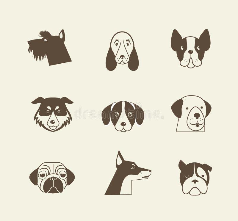 Ícones do vetor dos animais de estimação - elementos dos gatos e dos cães ilustração royalty free