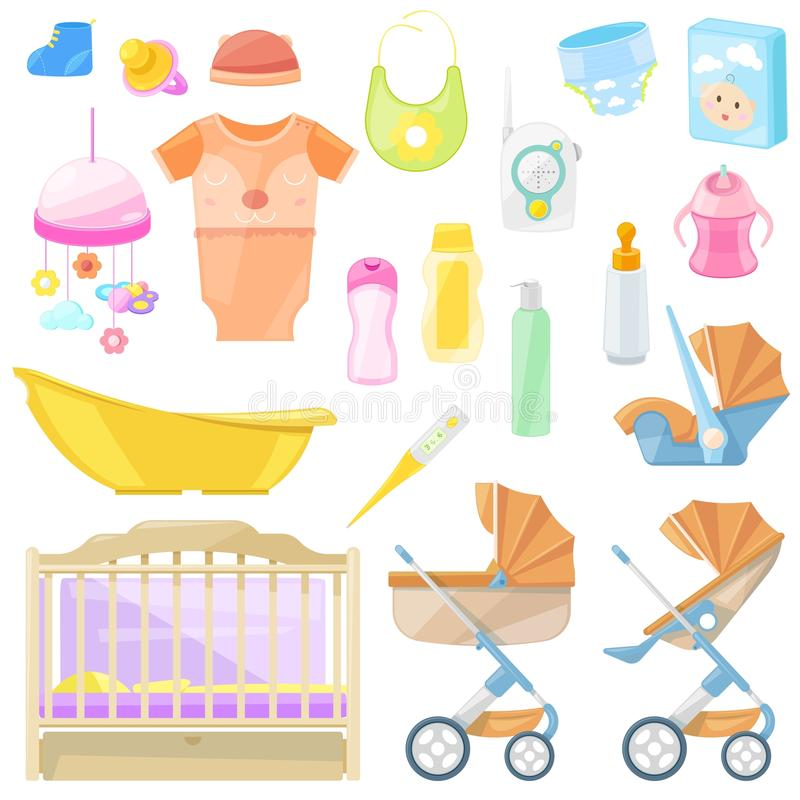 Ícones do vetor dos bens do bebê e elementos do projeto Colora o material de crianças para feding, berçário, banho, andando ilustração royalty free