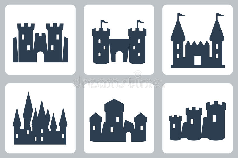 Ícones do vetor dos castelos ilustração royalty free
