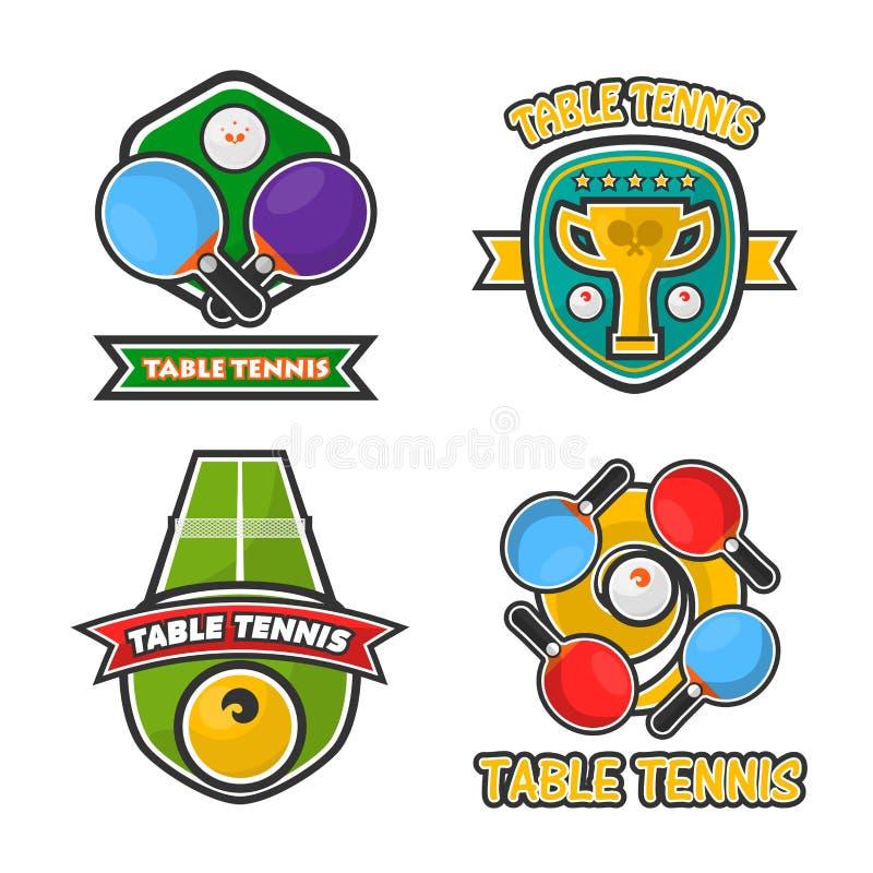 Ícones do vetor dos copos da concessão do clube e do competiam de tênis de mesa do pong do sibilo ajustados ilustração stock