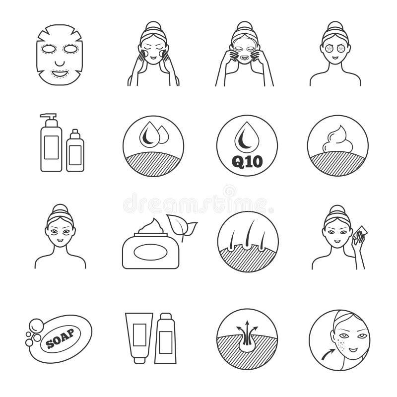 Ícones do vetor dos cuidados com a pele Prevenção do envelhecimento e eliminação de pictograma do enrugamento ilustração do vetor
