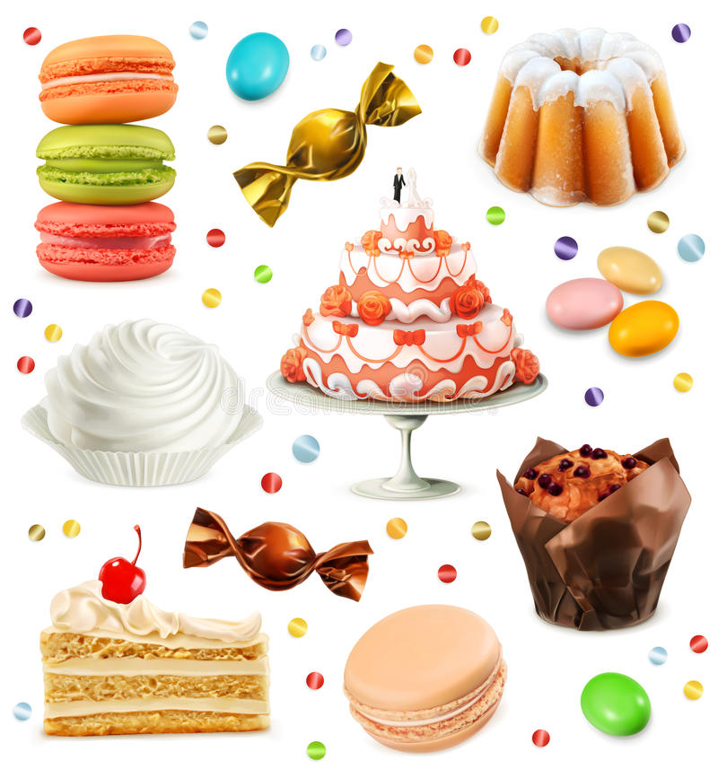 Ícones do vetor dos doces ilustração royalty free