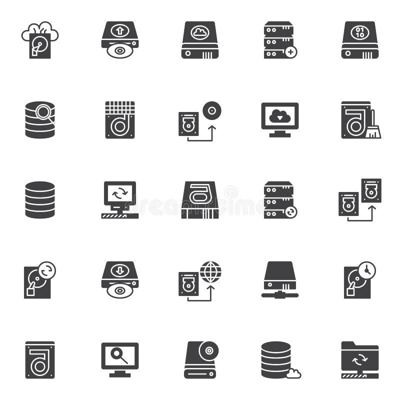 Ícones do vetor dos elementos da recuperação dos dados ajustados ilustração royalty free