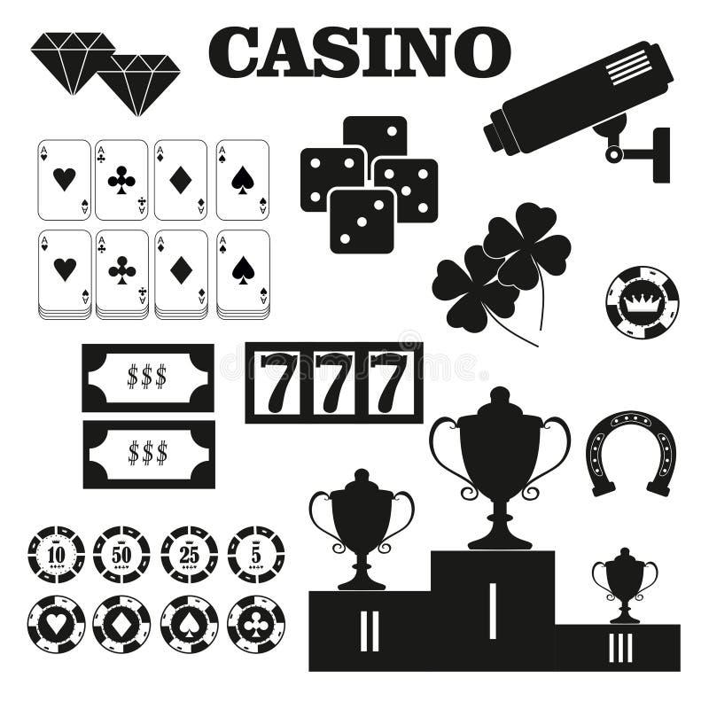 Ícones do vetor dos elementos do projeto do casino Jogos do casino Ace que joga c ilustração do vetor