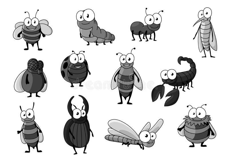 Ícones do vetor dos insetos e dos erros dos desenhos animados ajustados ilustração stock