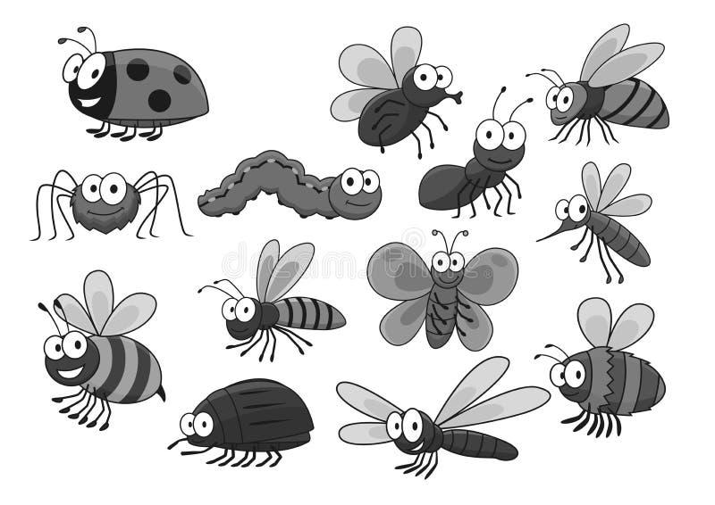 Ícones do vetor dos insetos e dos erros dos desenhos animados ajustados ilustração do vetor