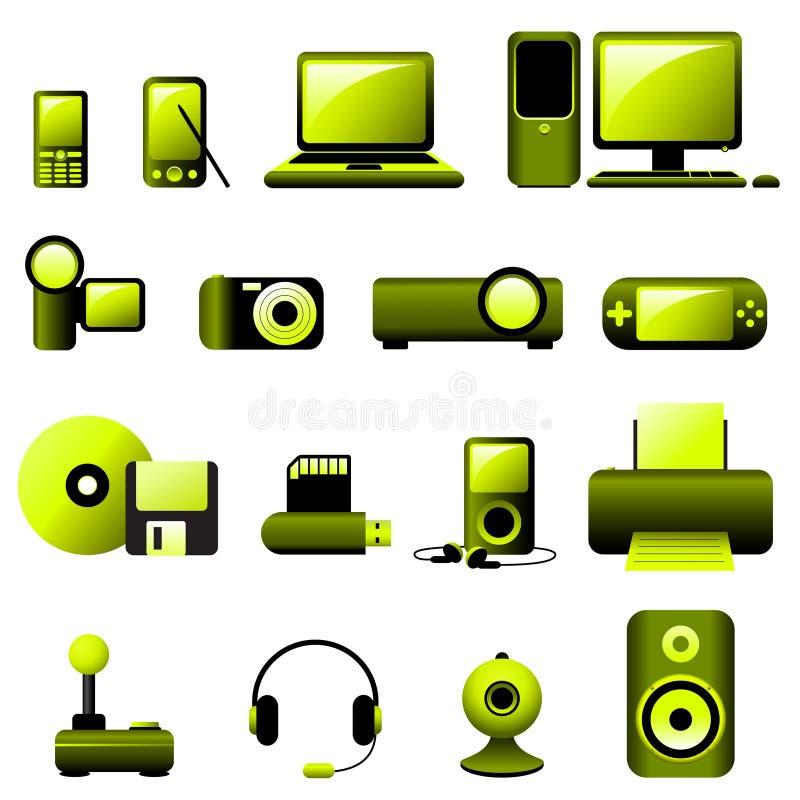 Ícones do vetor dos multimédios ilustração stock