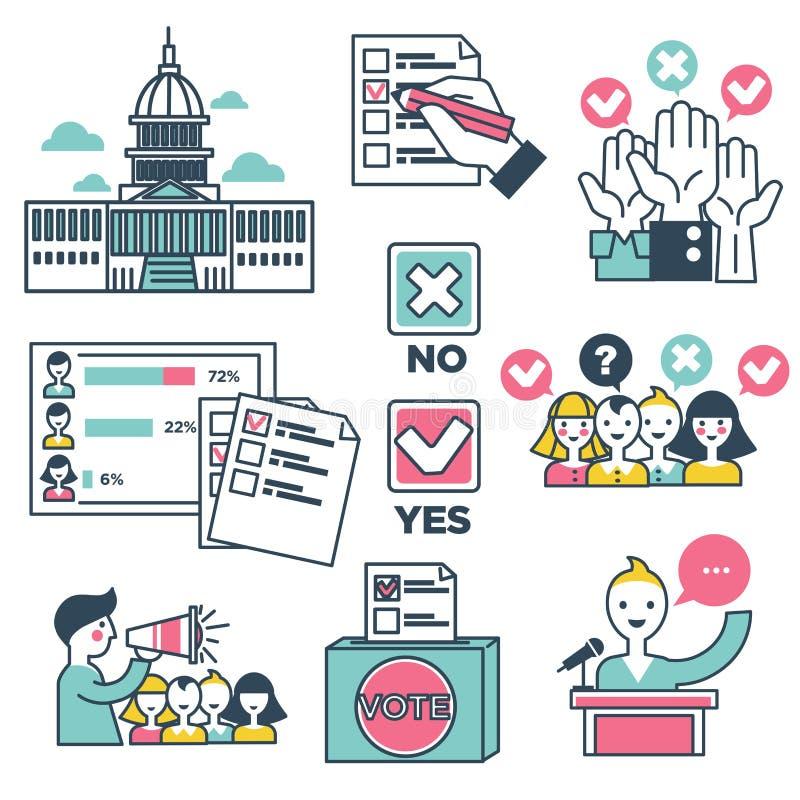 Ícones do vetor dos povos das eleições do voto e da votação ilustração royalty free