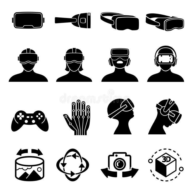 Ícones do vetor dos vidros da realidade virtual e dos auriculares Símbolos do dispositivo do sensor do computador do jogo e do vr ilustração stock